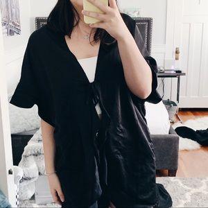 Victoria Secret Black Satin Robe